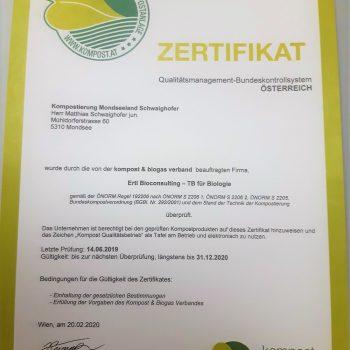 Zertifikat Kompost oberösterreich kompostieren.at
